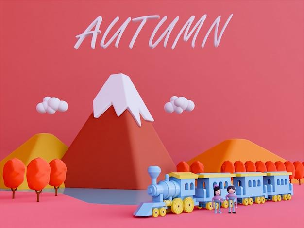 Il fondo 3d della montagna di autunno del fumetto rende.