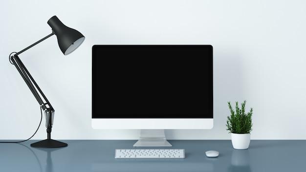 Il fondo 3d dello scenario in bianco degli oggetti dell'ufficio e della camera rende
