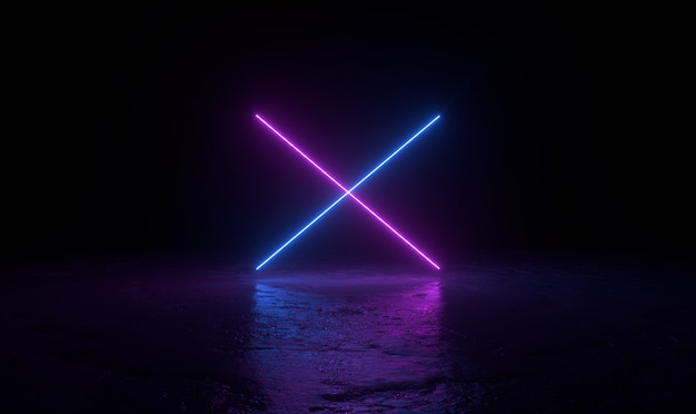 Il fondo astratto 3d rende, due neon rosa e blu si accendono sull'illustrazione della terra, del retrowave e del synthwave.