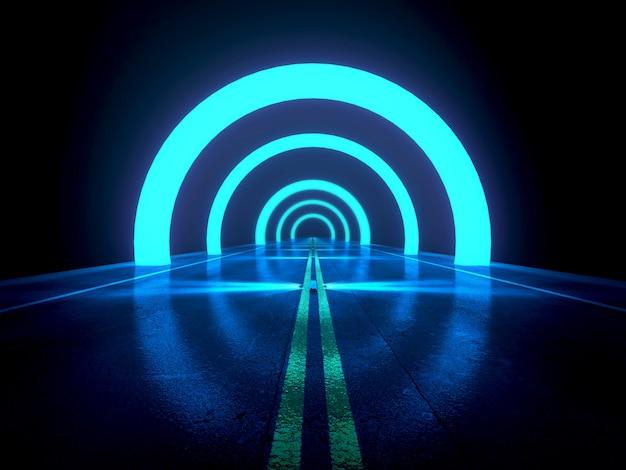 Il fondo astratto blu scuro, la strada principale futuristica con il concetto di effetto e della luce, 3d rende