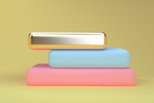 Il fondo astratto geometrico minimalista, i colori pastelli, 3d rende, il manifesto di tendenza, illustrazione.
