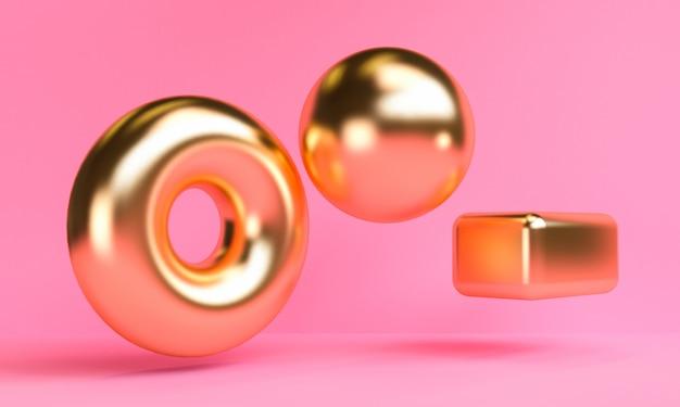 Il fondo astratto minimalista dell'oro, le figure geometriche primitive, i colori pastelli, 3d rende.