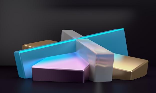 Il fondo astratto minimalista, le figure geometriche primitive, 3d rende.