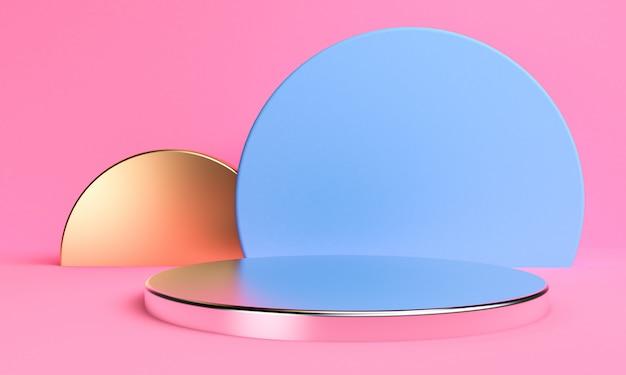 Il fondo astratto minimalista, le figure geometriche primitive del podio, i colori pastelli, 3d rende.