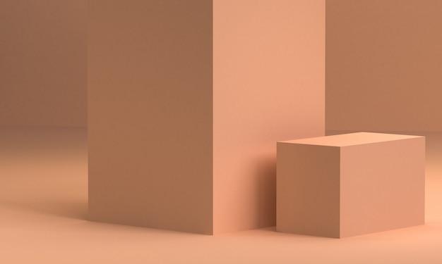 Il fondo astratto minimalista, le figure geometriche primitive, i colori pastelli, 3d rende.