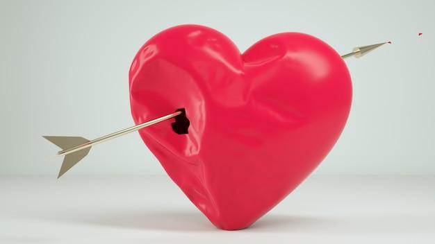 Il fondo bianco del cuore 3d rende
