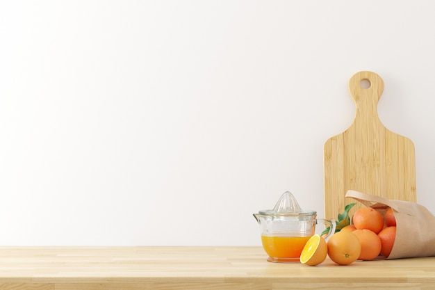 Il fondo degli utensili della cucina con lo spazio bianco della copia di struttura del muro di cemento per testo, 3d rende