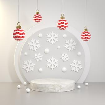 Il fondo di lusso 3d del fiocco di neve di concetto di natale del podio del modello rende