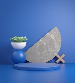 Il fondo geometrico astratto blu del podio con la pianta 3d rende