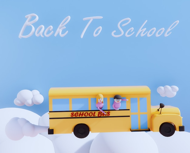 Il fumetto dello scuolabus 3d rende. nuovo concetto di banco.
