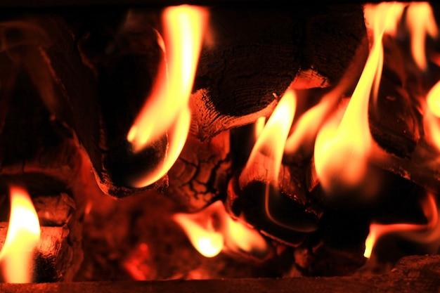 Il fuoco brucia in una stufa a legna tronchi carbonizzati