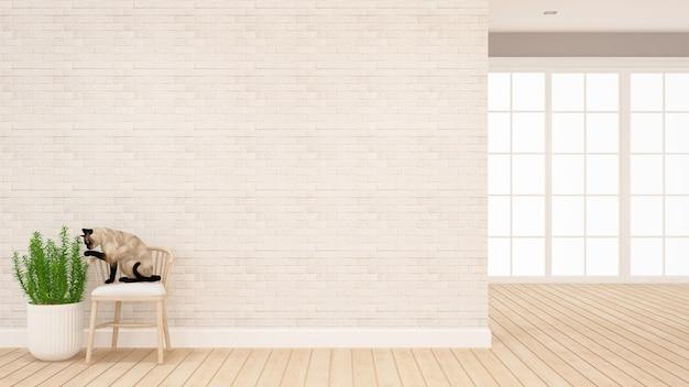 Il gatto si siede sulla sedia che gioca la pianta in salone - animale nella casa per materiale illustrativo - rappresentazione 3d