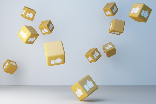 Il giallo gradisce la rappresentazione della scatola 3d dell'icona 3d