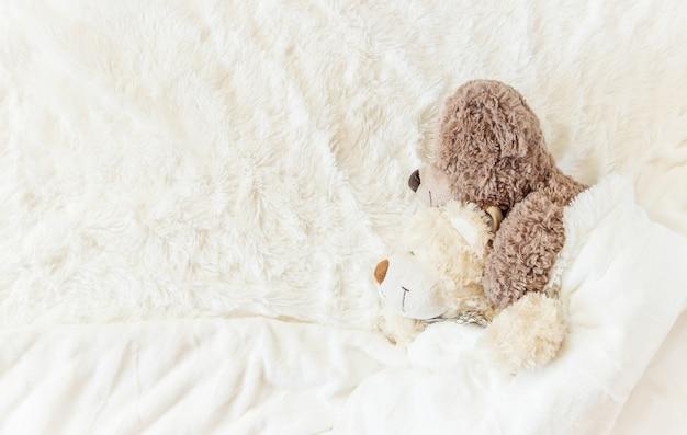 Il giocattolo per bambini dorme sotto la coperta. copia spazio. messa a fuoco selettiva