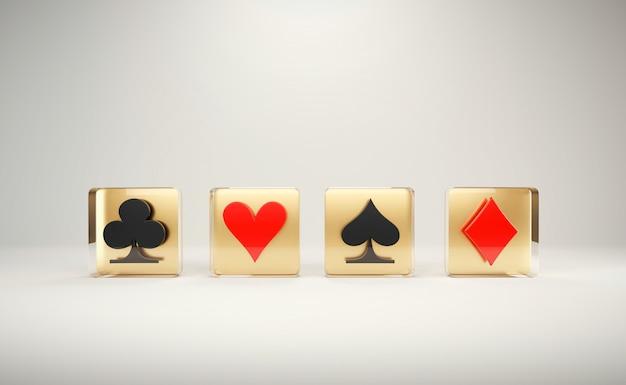 Il gioco del simbolo del gioco con le carte della mazza, con illuminazione dell'installazione messa a punto 3d rende.