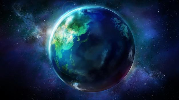 Il giorno metà della terra dallo spazio che mostra asia, oceania e australia