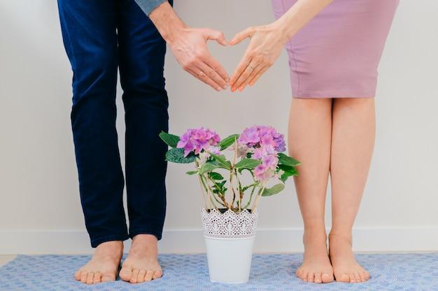 Il giovane e la ragazza hanno afferrato le mani e il cuore firmano sopra il vaso di fiori.