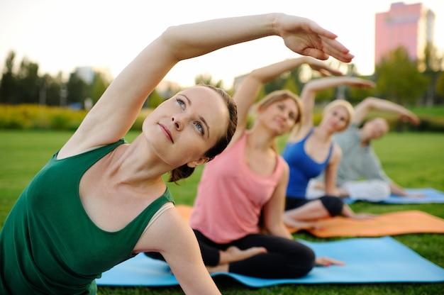 Il gruppo di asana di yoga si comporta sull'erba