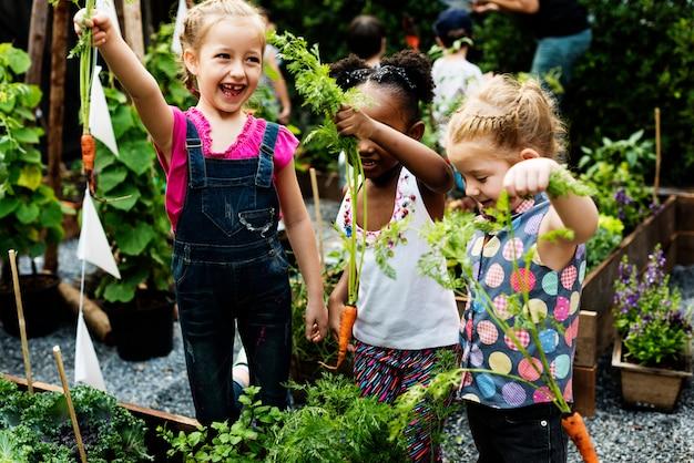 Il gruppo di bambini dell'asilo che imparano il giardinaggio all'aperto
