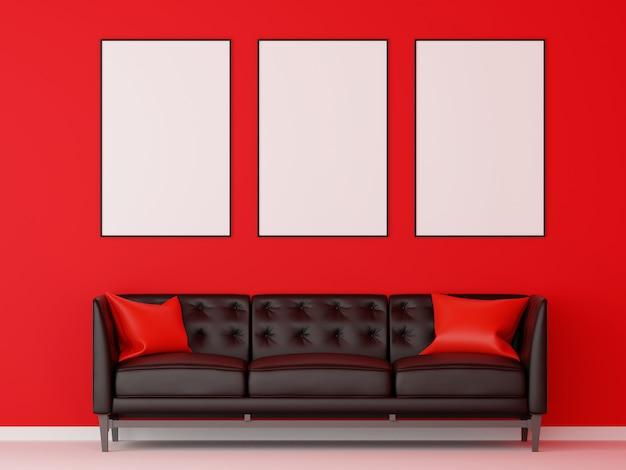 Il gruppo di cornice deride con il sofà nero in salone rosso. rendering 3d.