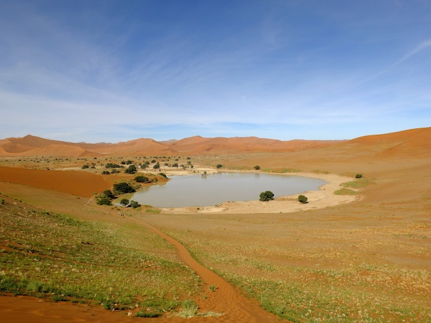 Il lago in dune, deserto del namib, sossusvlei, namibia
