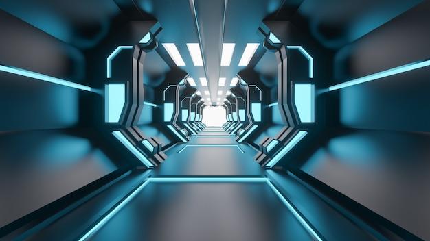 Il lerciume di fantascienza ha danneggiato il fondo metallico del corridoio illuminato con le luci al neon 3d rende - illustrazione