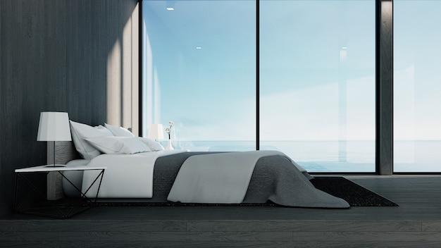 Il loft e camera da letto moderna - vista mare per vacanze ed estate / interni rendering 3d