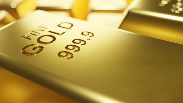 Il macro fondo delle barre di oro 3d rende