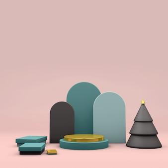 Il manifesto astratto moderno con 3d rosa rende la fase con l'albero. 3d rendono il natale della fase.