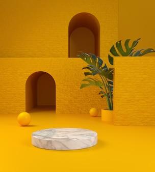 Il marmo dell'esposizione del modello e il fondo giallo astratto 3d della costruzione rendono