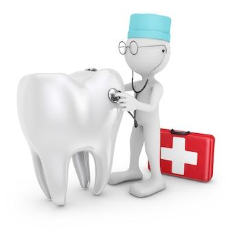 Il medico con uno stetoscopio esamina un dente