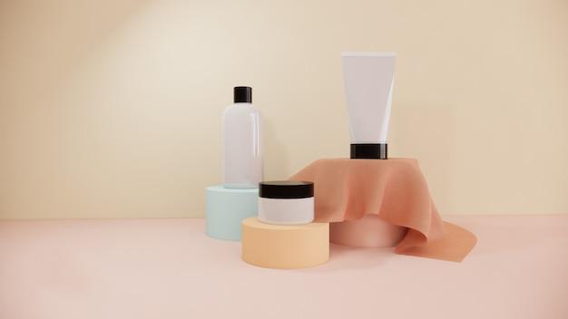 Il modello cosmetico del prodotto della bottiglia ha messo su progettazione di imballaggio pastello, la rappresentazione 3d