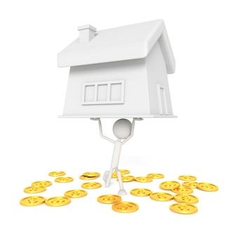 Il modello della gente solleva la casa con il concetto del debitore. rendering 3d.