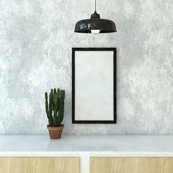 Il modello della struttura sulla parete nella sala / 3d rende l'immagine