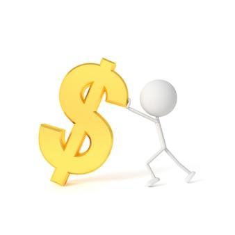Il modello di uomo sollevare il simbolo del dollaro. rendering 3d.