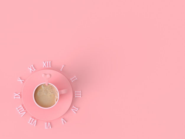 Il momento del concetto di idea d'amore. la tazza di rosa del caffè del latte su fondo pastello rosa con lo spazio della copia per il vostro testo, 3d rende.