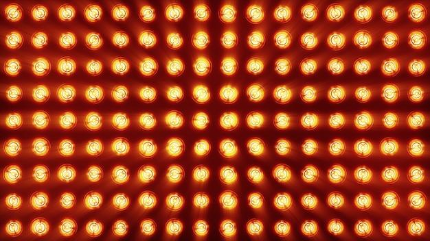Il muro di lampade a incandescenza è luminoso. sfondo led