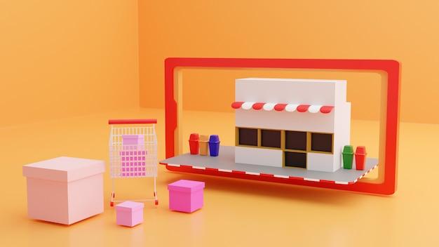 Il negozio per lo shopping online sul concetto di smartphone