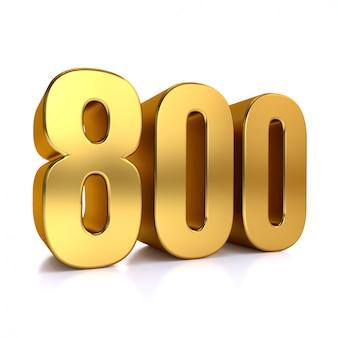 Il numero 800, ottocento, isolato su fondo bianco, 3d rende