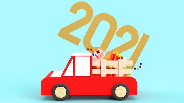 Il numero dell'oro e il contenitore di regalo sull'automobile rossa giocano per il contenuto della celebrazione
