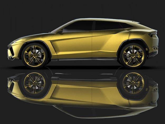 Il nuovissimo crossover premium a quattro ruote motrici sportivo in studio nero con pavimento riflettente