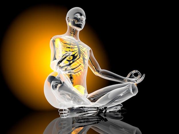 Il padmasana - sedile del loto - posa. illustrazione 3d.