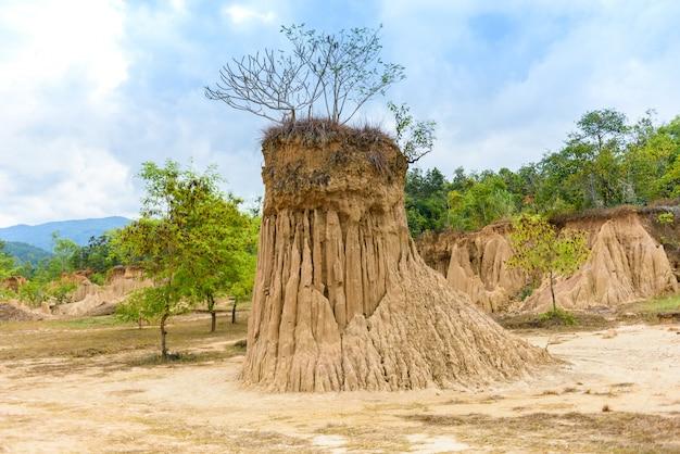 Il paesaggio delle strutture del suolo ha eroso le colonne, le colonne e le scogliere dell'arenaria