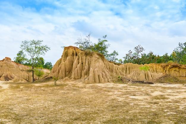 Il paesaggio delle trame del suolo ha eroso i pilastri, le colonne e le scogliere dell'arenaria,