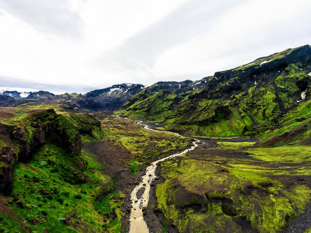 Il paesaggio di thorsmork in altopiano islandese.