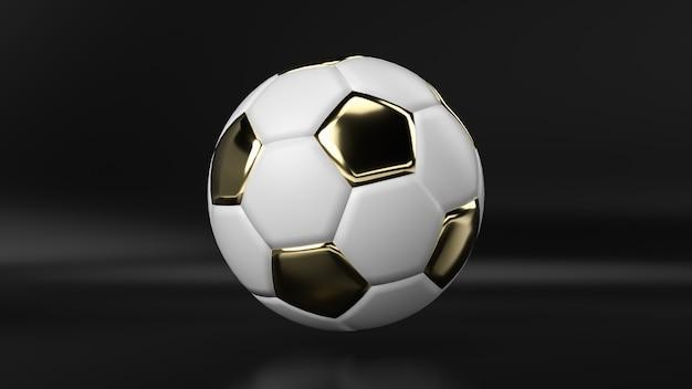 Il pallone da calcio dorato su fondo nero, 3d rende.