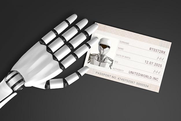 Il passaporto di alimentazione del braccio del robot