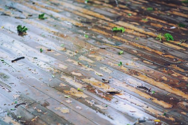 Il pavimento in legno marrone è bagnato dopo la pioggia