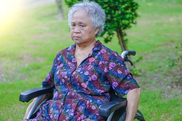 Il paziente luminoso del fronte di sorriso della donna anziana anziana o anziana anziana della signora su sedia a rotelle in parco.