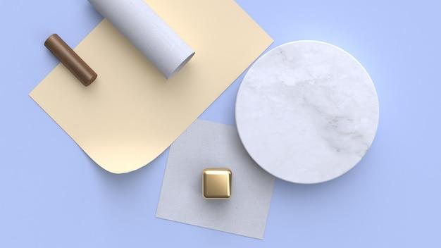 Il piano della carta di marmo della rappresentazione 3d pone la forma geometrica minima